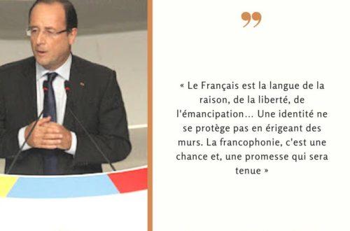 Article : Mots de François Hollande pendant son discours