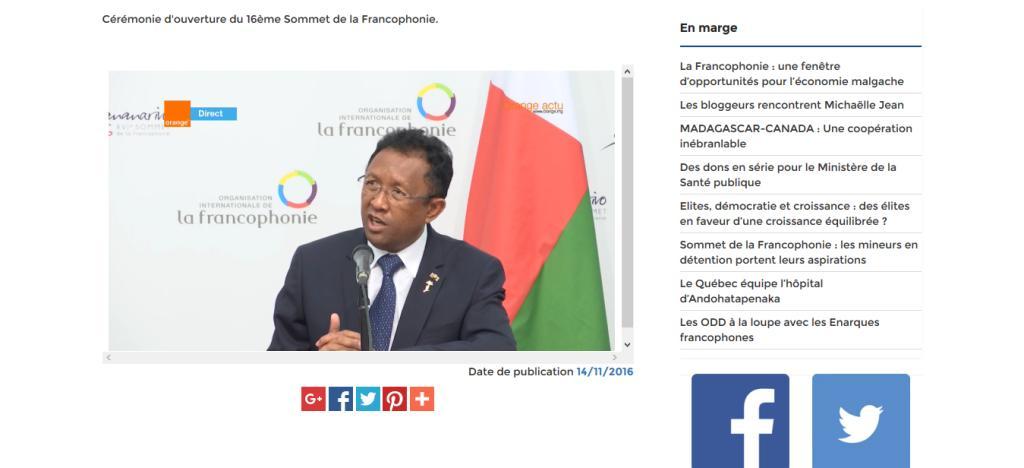 Capture d'écran du discours du président malgache